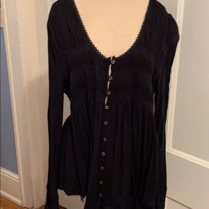 Free people BoHo black top with frayed hem